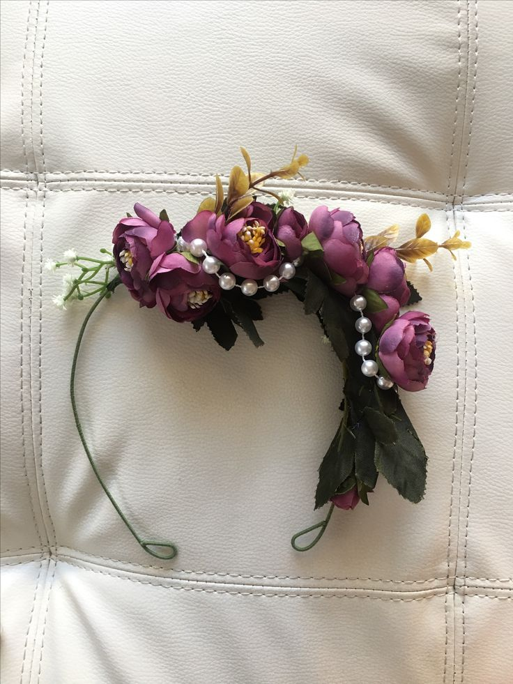 Vintage purple and faux pearl thread flower crown available now at Etsy