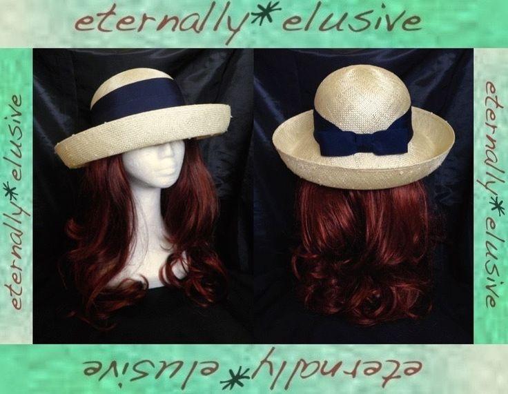 Vintage BHS Cream Navy Blue Classic Straw Sun Hat Breton Boater Henley Ladies 22