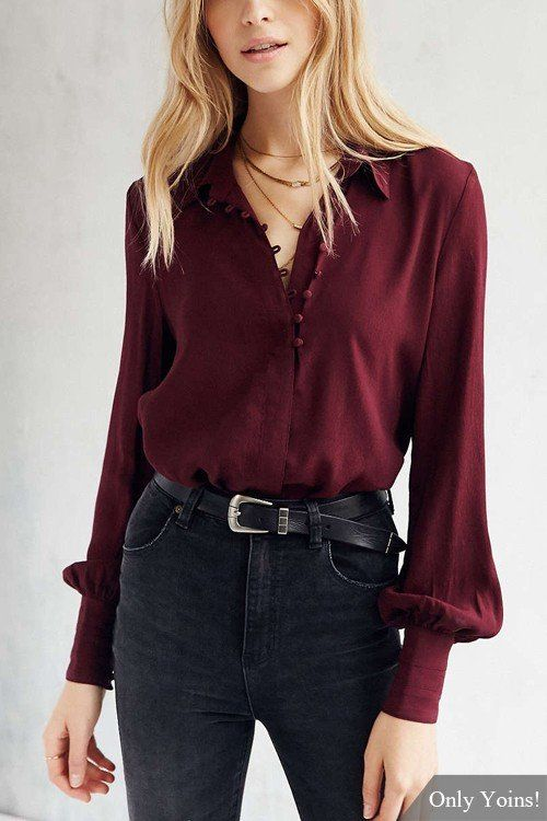 Crafted from burgundy chiffon fabirc, this button-down shirt features a classic collar, puffy sleeves with bottoned cuffs, and a delicate high-low hem. Wear it as a tunic or tuck it into a skinny jeans, and let this top take limelight for you.