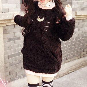 Kawaii fashion and styles White/Black [Sailor Moon] Luna/Artemis Fleece Jumper SP154279 – SpreePicky