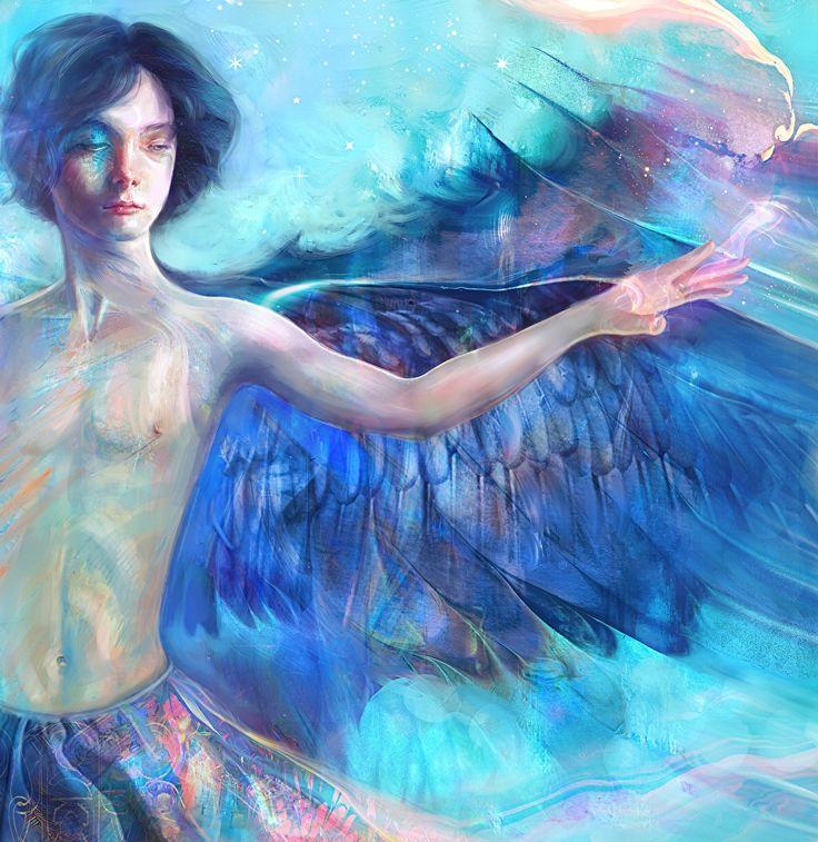 Bilder Junger Mann Fantasy Engeln