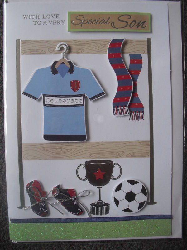 SON HANDMADE FOOTBALL BIRTHDAY CARD