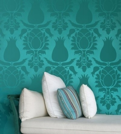 17 best images about home decoration on pinterest for Turquoise wallpaper for bedroom