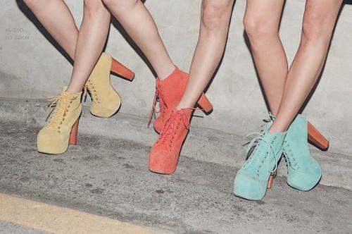 <3Blue Fashion, Fashion Ideas, Pastel Cerveza Tennis, Funky Shoes, Colors, Colours Schemes, Jeffrey Campbell, Heels, Style Tips
