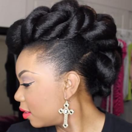 Using a few packs of braiding hair to add dimension to this funky faux-hawk, Vlogger Phoenix Monroe created this edgy look. #Wedding #Hairstyles