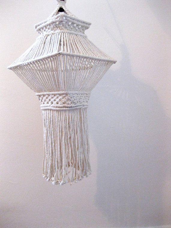 vintage 1970s // hanging macrame pendant by JerushadVintage, $44.00