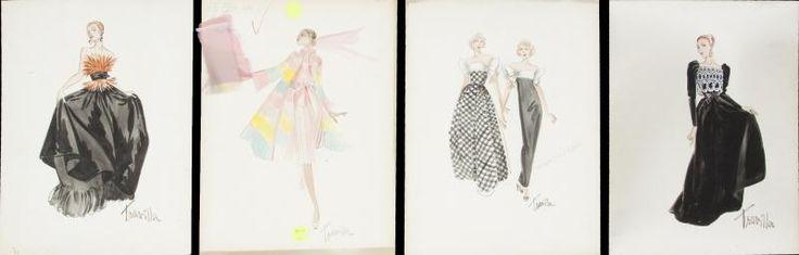 William Travilla - Costumes - Esquisses et Croquis - Projets de Mode - années 70 / 80