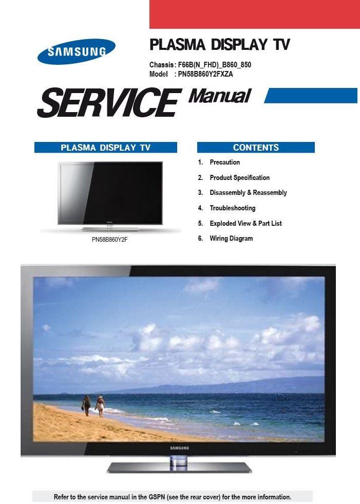 Samsung Pn58b860 Pn58b860y2f Tv Service Manual Repair Guide Tv Services Repair Guide Samsung