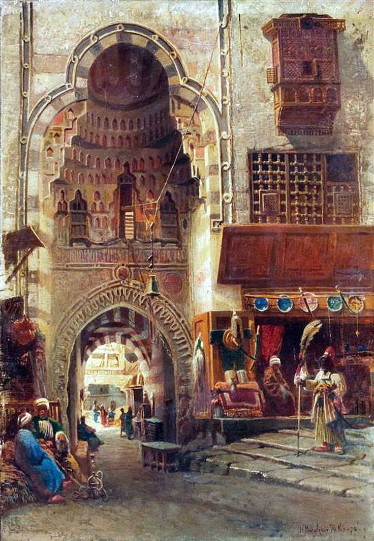 A north African bazar in 1700s or 1800s. Artist not known.