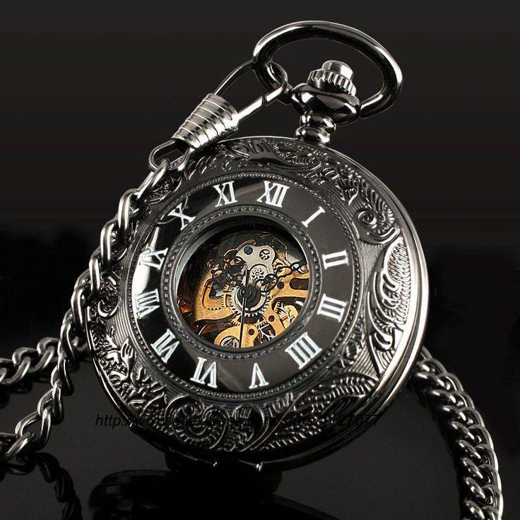 25 best ideas about mechanical pocket watch pocket classic steampunk r dial mechanical skeleton steel mens black windup pocket watch