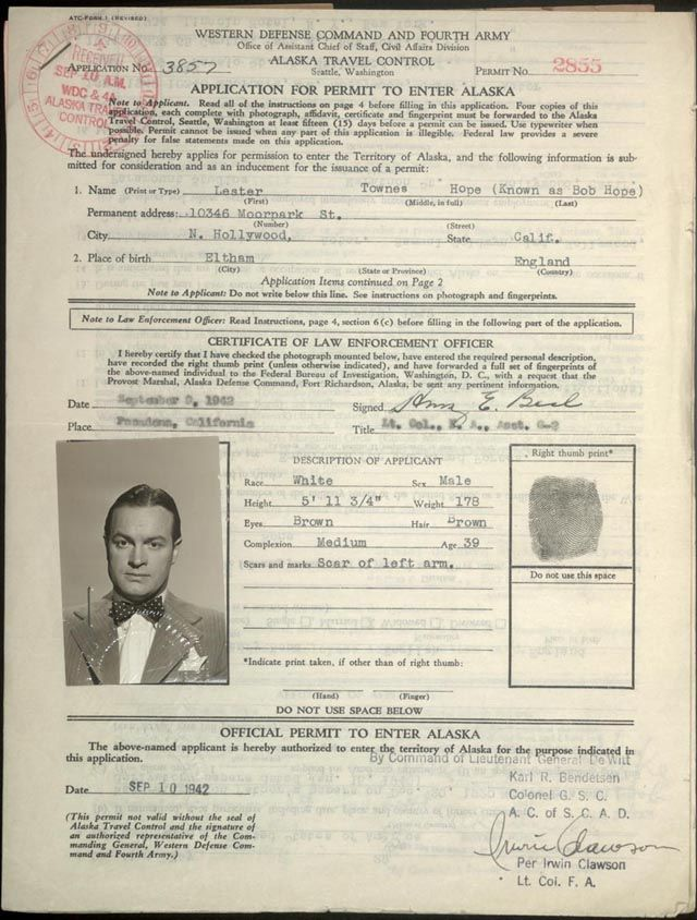 Dec 23, 1942 - Bob Hope agreed to entertain U.S. airmen in Alaska. It was the first of the traditional Christmas shows. His travel to Alaska, then a U.S. territory, required a special permit.   In 1997 Bob Hope was designated an honorary veteran for his humanitarian services to the United States Armed Forces by Congress. He is the only individual in history to have earned this honor.