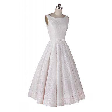 gola redonda bordado balanço das mulheres vestido longo fino (mais cores) - BRL R$ 170,97