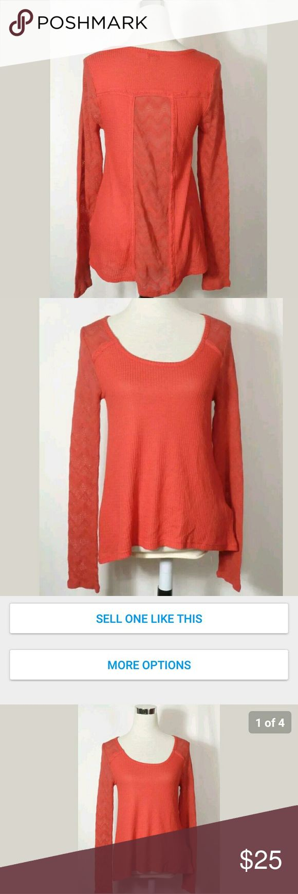Lucky Brand Thermal Top Sz M Very comfortable pretty bright orange women's top. Size L. Lucky Brand Tops Tees - Long Sleeve