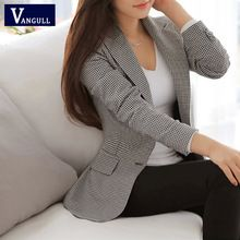 Vangull mulheres Blazer 2016 primavera fino OL trabalho desgaste Blazer simples do Vintage xadrez casaco entalhado Casual Vestidos(China (Mainland))