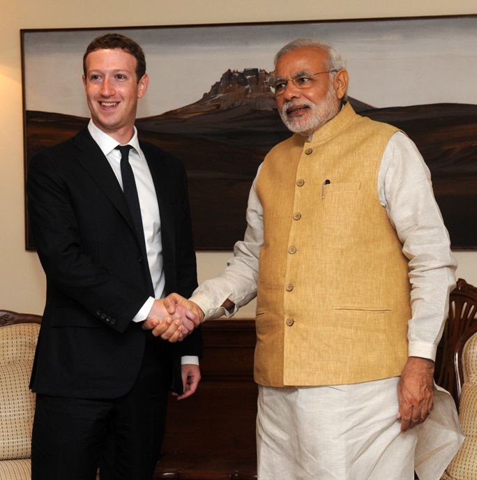 Mark Zuckerberg with Indian PM Narendra Modi