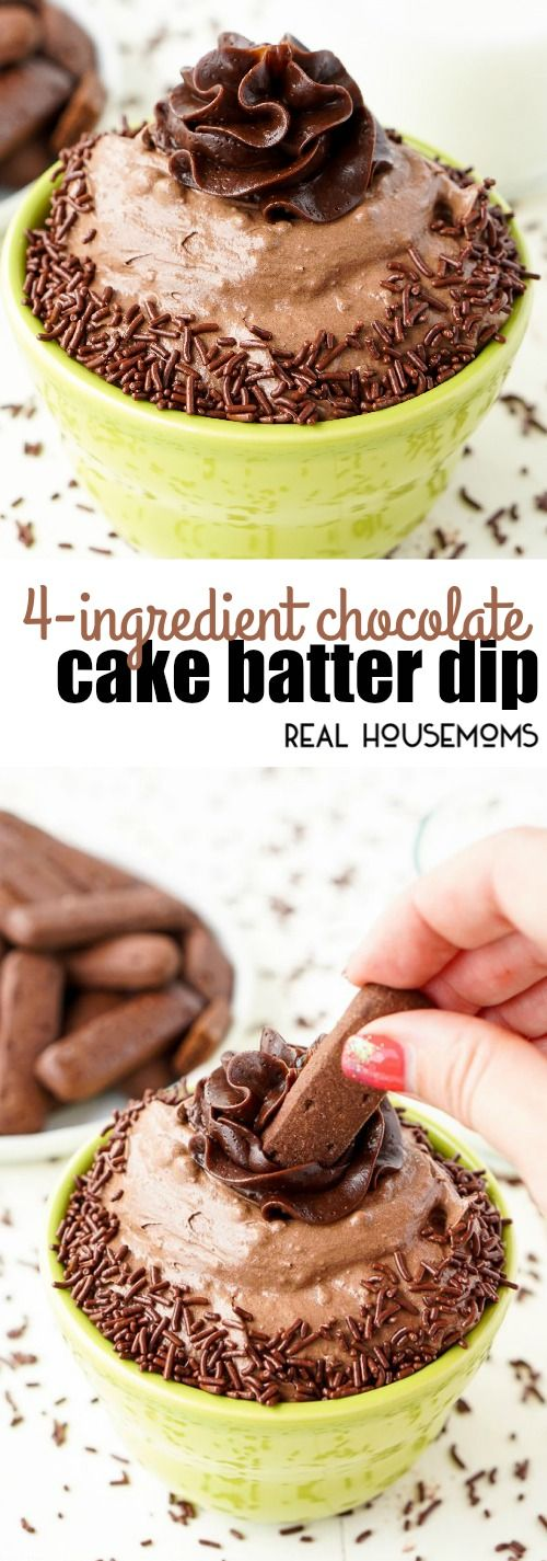 This 4-Ingredient Chocolate Cake Batter Dip is ready in just 5 minutes and is a delicious solution to your chocolate cravings! via @realhousemoms
