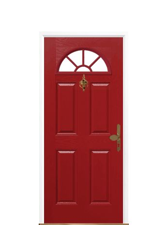 This Customer From Basingstoke Chose A 4 Panel Sunburst Red Composite Front  Door , With Gold Furniture And Clear Glass.