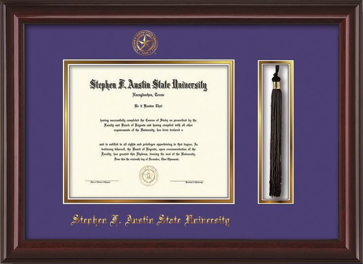 Stephen F. Austin Diploma Frame - M Lacquer - Tassel - Purple/Gold – Professional Framing Company