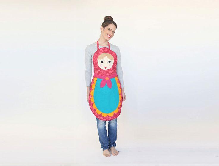 Halloween Womens Babushka apron , Hosting ware, russian doll apron, handmade costume by inbalcarmistudio on Etsy https://www.etsy.com/listing/240212750/halloween-womens-babushka-apron-hosting