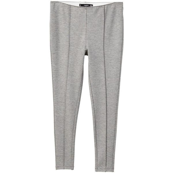 Decorative Seam Leggings ($28) ❤ liked on Polyvore featuring pants, leggings, light heather grey, elastic waistband pants, heather gray leggings, mango leggings, mango trousers and tailored pants