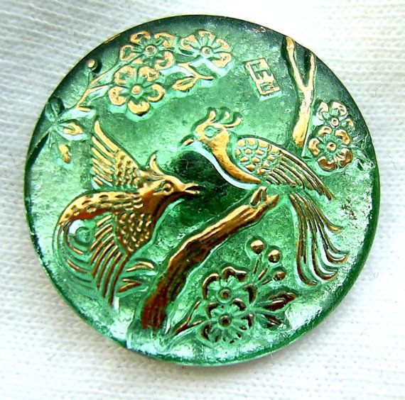 Czech Glass Button - Mint Green Mirror Back BIRD OF PARADISE w/ Gold Luster