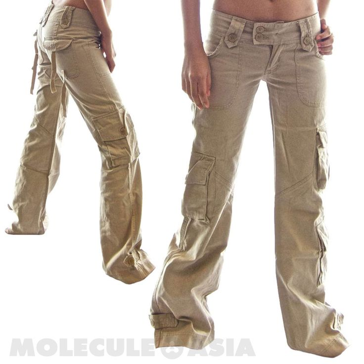 Brilliant Womens Ladies Khaki Green Brown Wide Leg Combat Trousers Cargo Jeans