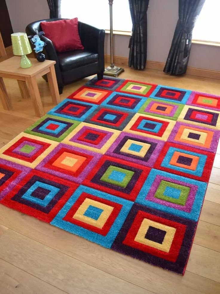 Candy Multicoloured Squares Design Rug Available In 5 Sizes 120cm X 170cm