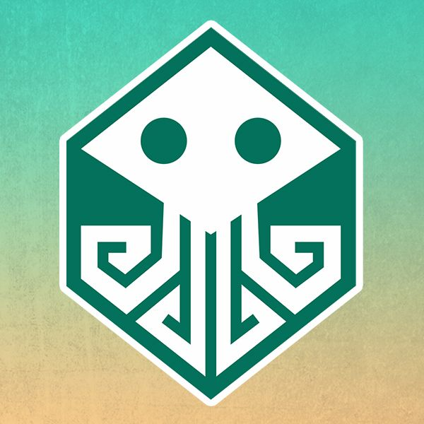"Logo for event ""Board games by the sea"". It's combine Cthulhu symbol with board game dice."