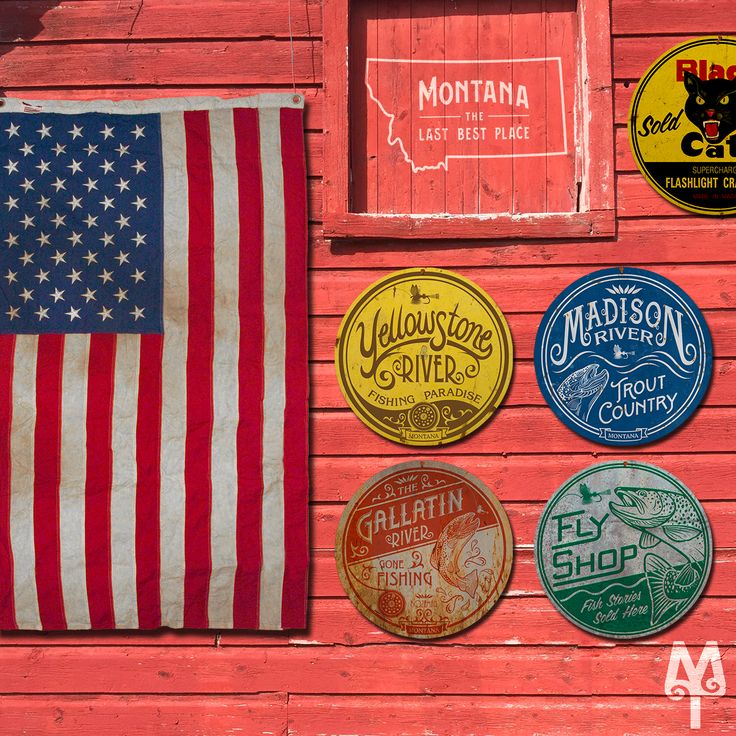 The Fourth, Fly Fishing, And FireCrackers...four Montana Treasures fly fishing wall signs mounted alongside Old Glory on a barn in Bozeman, Montana
