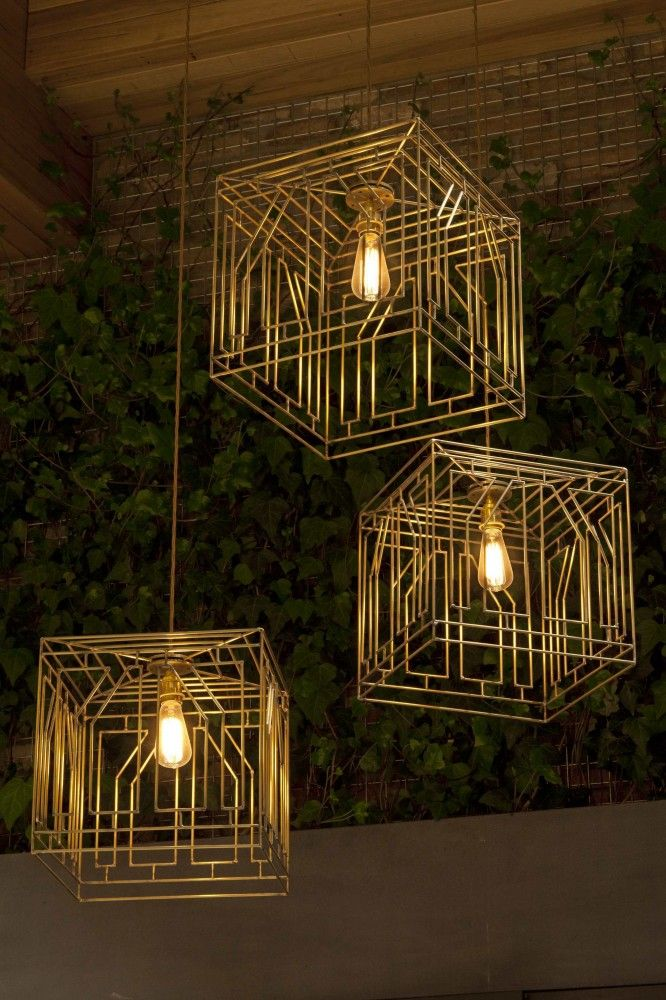 Brass Caged pendant lights - unknown designer