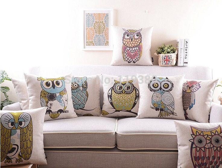 """18 """" praça coruja dos desenhos animados Cotton Linen capa de almofada Ikea sofá decorativa Throw Pillow início Car cadeira fronha almofadas alishoppbrasil"""