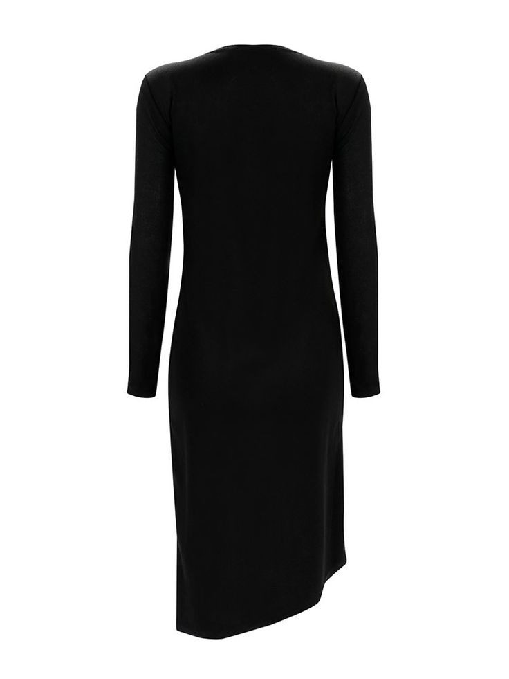 Sexy Irregular Slit Hem Long Sleeve O-neck Women Dress