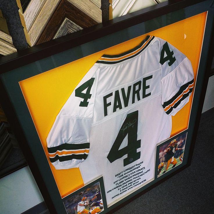Custom framed Brett Favre stats jersey. Custom framed by FastFrame of LoDo. #art #pictureframing #customframing #sportsframing #denver #colorado