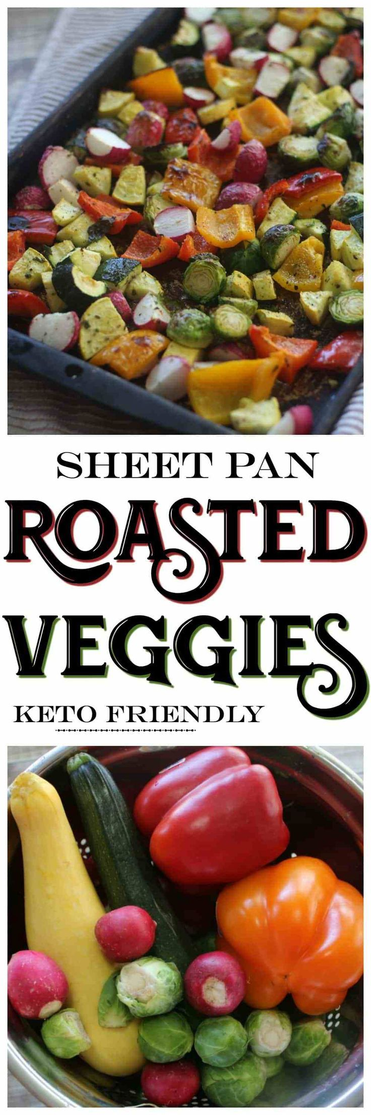 Sheet Pan Roasted Low Carb Veggies | This Sheet Pan Roasted Veggies are the perfect low carb keto side dish! Perfect for simple meal prep or for your low carb holiday meals.