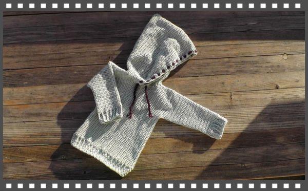 Pullover mit Kapuze Hoodie Kapuzenpullover häkeln lernen Video Häkelanleitung