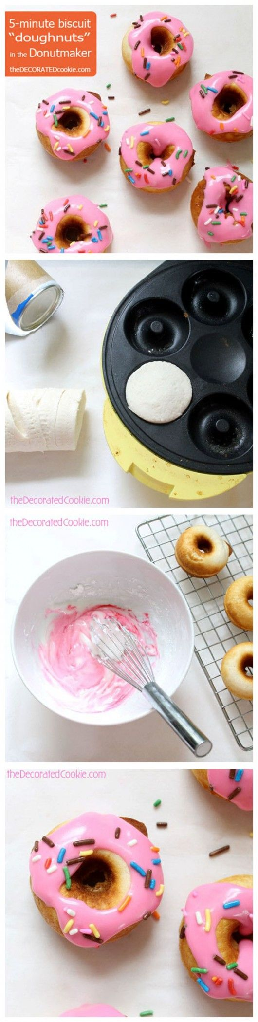 Make adorable doughnuts in 5 minutes using refrigerated biscuit dough!!