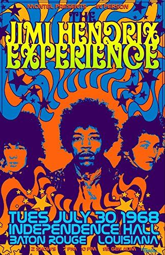 """The Jimi Hendrix Experience - Independence Hall, Baton Rouge."" Fantastic A4 Glossy Art Print Taken from A Vintage Concert Poster by Design Artist http://www.amazon.co.uk/dp/B0155VFF6M/ref=cm_sw_r_pi_dp_--o8vb12CF06A"
