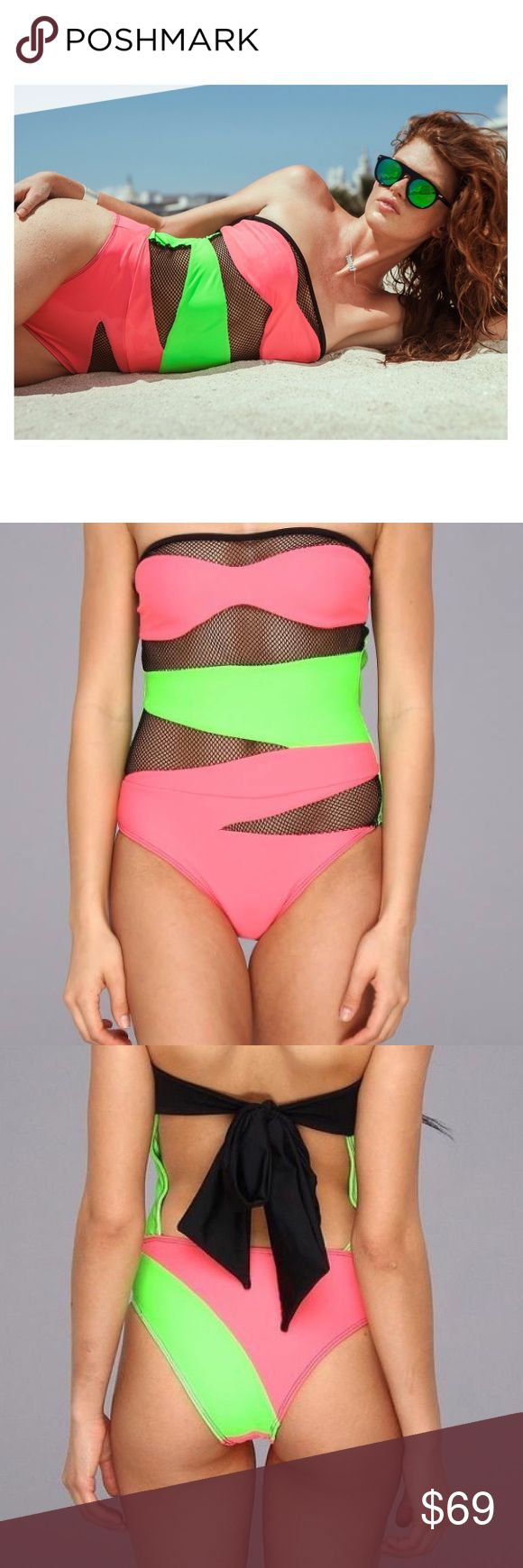 Beach Riot Heatwave Suit Brand New Beach Riot Swimsuit. Strapless with self-tie back. Sheer net and color block panels. 80% Nylon 20% Spandex. Beach Riot Swim One Pieces