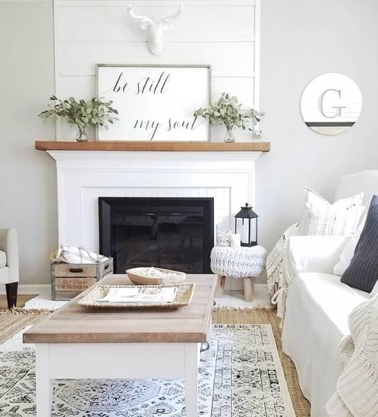 Be Still My Soul | Farmhouse Décor | Modern Farmhouse | Living Room Ideas | Living Room Décor | Fixer Upper | Fixer Upper Style | Joanna Gaines | Brick Fireplace | Shiplap | Wood Mantle | Farmhouse Signs | Wood Signs