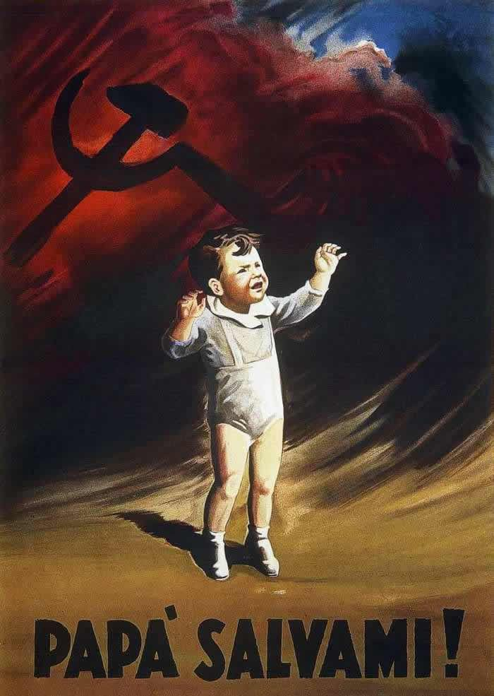 """Italian WWII poster, """"Daddy, save me!"""" 1944 (image depicts a child with an ominous looking Soviet icon in the background)"""