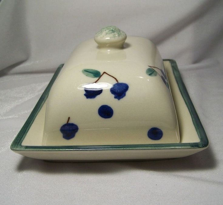 Hartstone Pottery Butter Dish Fruit Salad Blueberry Cherries with Lid USA HTF #Hartstone #Contemporary