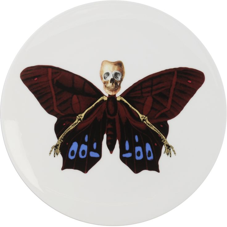 'Profundus' Cake Plate – a dark surprise from the 'Lepidoptera' collection designed by Maxim from The Prodigy. Equally at home on a wall or on a table, these specimens are as much works of art as they are functional items. A range that is based on imagery drawn from his wonderful paintings. Fine Bone China. 22kt Gold Accents. One of six designs. Made in Stoke-on-Trent, England. Find out more here: https://thenewenglish.co.uk/collections/lepidoptera/products/lepidoptera-profundus-cake-plate…