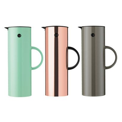 Stelton Patina Green, Copper and Copper Brown Vacuum Jugs by Erik Magnussen