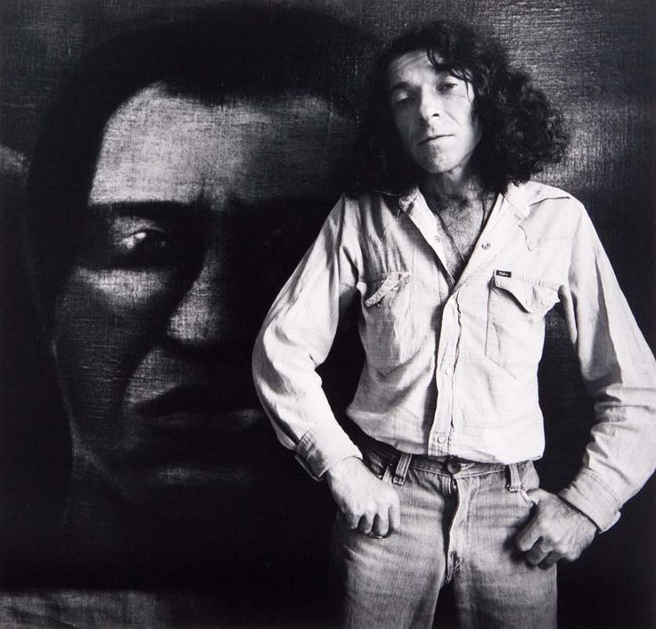 Tony Fomison in Front of His Painting Omai In 1979 photo by marti friedlander