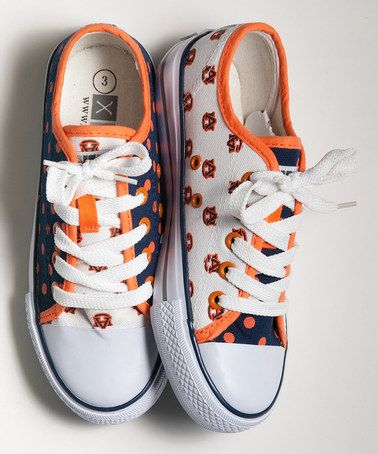 Take a look at this Orange & Navy Blue Auburn Sneakers - Kids & Women by XOLO Shoes on #zulily today!