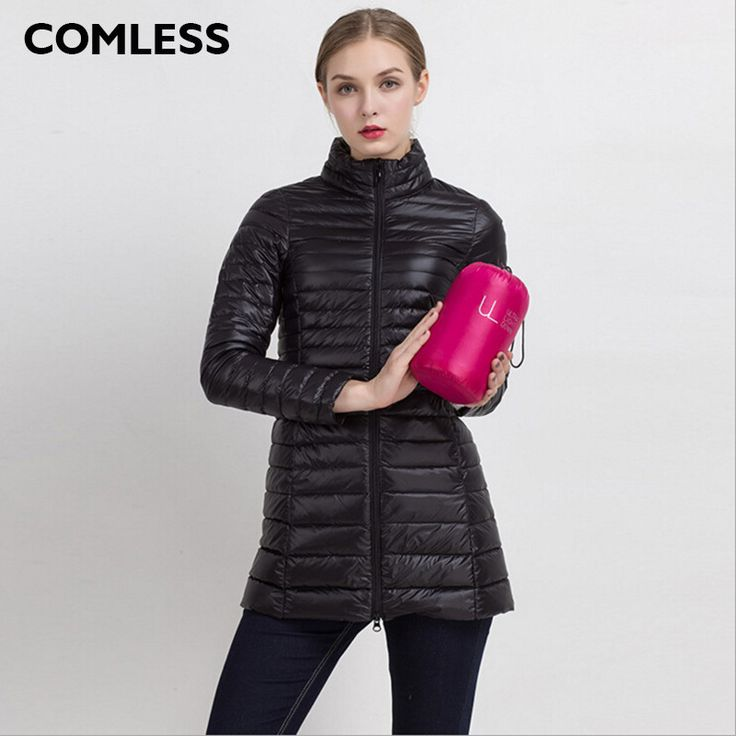 COMLESS Plus Size 4XL 8 Colors Women Casual Ultralight Down Jacket with 90% Down 10%Feather Zip Up Women Winter Long Coat Jacket  #pretty #sweet #model #beauty #shopping #swag #instafashion #love #cute #style