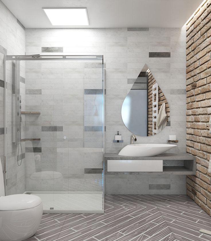 Gallery Website Brick effect wall tiles and a light grey colour scheme bine beautifully in this contemporary Modern Bathroom DesignContemporary BathroomsBathroom