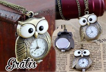 Horloge ketting met klassieke uilenhanger - t.w.v. €29,95 nu GRATIS, get the vintage look.  https://www.vouchervandaag.nl/gratis-horloge-ketting-uil-aanbieding-klassiek-sieraad #vintage #horloge #gratis