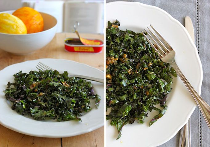 Kale Salad with Anchovy-Date Dressing- SO good!