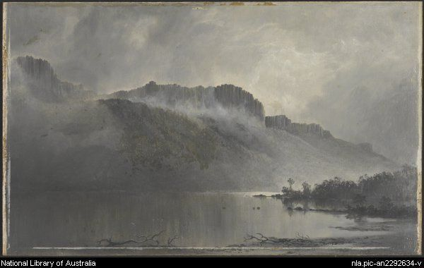 Mt. Olympus, Lake St. Clair, Tasmania -- by William Piguenit - Natl Lib of Aus